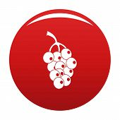 Ripe Grape Icon. Simple Illustration Of Ripe Grape Vector Icon For Any Design Red poster