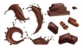 Realistic Chocolate Splashes, Flows And Bars Vector Isolated On White Background. Chocolate Bar Real poster