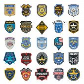 Police Badges. Officer Security Federal Agent Signs And Symbols Police Protection Vector Logo. Illus poster