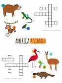 America Animals Mini Crosswords For Preschool Kids Vector Illustration. Illustration Of Crossword An poster