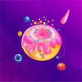 Space Fantasy Planet, Asteroid, Moon, Fantastic World Game Vector Cartoon Icon, Illustration In Donu poster