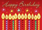 stock photo of happy birthday  - Happy birthday vector greeting card with candles - JPG