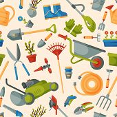 Garden Tool Gardening Equipment Rake Or Shovel And Lawnmower Of Gardener Farm Collection Or Farming  poster