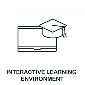 Interactive Learning Environment Outline Icon. Thin Line Concept Element From Content Icons Collecti poster