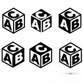 Abc Block Sing On White Background. Flat Style. Abc Cubes Icon For Your Web Site Design, Logo, App,  poster