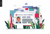 Medical Insurance Illustration- Medical Id Card, Health Card -modern Flat Vector Concept Digital Ill poster