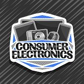 Vector Logo For Consumer Electronics, Decorative Cut Paper Badge With Illustration Of Set Gray Elect poster