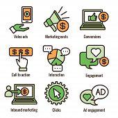 Social Media Ads Icon Set - Video Ads, User Engagement, Etc poster