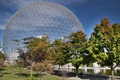 picture of geodesic  - The geodesic dome called Biosphere is a museum in Montreal dedicated to water and the environment. It is located at Parc Jean-Drapeau, on Saint Helen