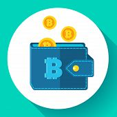 Bitcoin Wallet Icon Flat Style, Cryptocurrency Wallet Icon Vector poster