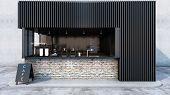 Front View Cafe Shop & Restaurant Design. Modern Minimal Metal Black.counter Top Black Metal Brick,w poster