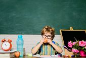 Schoolboy At Lunch Time. Funny Little Boy In Glasses Sits At Desk In Classroom. Child From Elementar poster