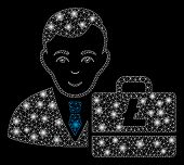 Flare Mesh Litecoin Accounter With Sparkle Effect. Abstract Illuminated Model Of Litecoin Accounter  poster