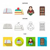 Isolated Object Of Library And Textbook Logo. Collection Of Library And School Stock Vector Illustra poster