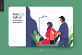 Medical Tests Template - Auscultation - Modern Flat Vector Concept Digital Illustration Of Stethosco poster