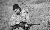 Hunter Hold Rifle. Aiming Skills. Hunting Permit. Bearded Hunter Spend Leisure Hunting. Hunting Equi poster