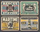 Nautical Vector Design Of Rusty Signboards With Sea Ship Or Boat Anchors, Ocean Waves And Marine Rop poster
