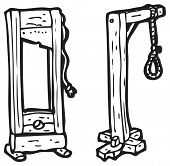 foto of guillotine  - guillotine and hangman - JPG