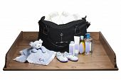 stock photo of diaper change  - Changing Table and Diaper Bag  - JPG