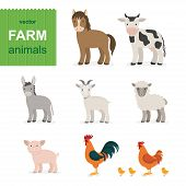 Cartoon Farm Animals Set In Flat Style. Vector Illustration. Vector Animals Collection: Goat, Sheep, poster