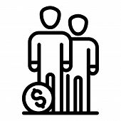 People Group Money Budget Icon. Outline People Group Money Budget Vector Icon For Web Design Isolate poster
