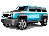 Vector illustration SUV or Sport Utility Vehicle  in Blue Color