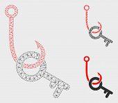 Mesh Key Phishing Hook Model With Triangle Mosaic Icon. Wire Carcass Polygonal Mesh Of Key Phishing  poster