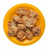 Dumplings On A Yellow  Plate Isolated On White Background. Dumplings In Tomato Sauce. Dumplings Top  poster