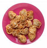 Dumplings On A Pink Plate Isolated On White Background. Dumplings In Tomato Sauce. Dumplings Top Vie poster
