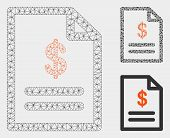 Mesh Invoice Model With Triangle Mosaic Icon. Wire Carcass Triangular Mesh Of Invoice. Vector Collag poster