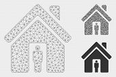Mesh House Owner Model With Triangle Mosaic Icon. Wire Carcass Polygonal Mesh Of House Owner. Vector poster