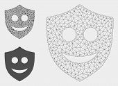 Mesh Happy Shield Model With Triangle Mosaic Icon. Wire Frame Polygonal Mesh Of Happy Shield. Vector poster