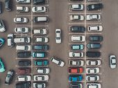 View From A Height To Parking Lot. Process Of Parking. Searching For Space In A Busy Car Park. Parki poster