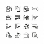 Credits And Loans Icons. Set Of Line Icons. Loan Calculator, Credit Card, Approved Application. Fina poster