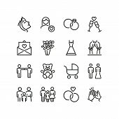 Marriage Line Icons. Set Of Line Icons. Clapping Hands, Family, Teddy Bear. Marriage Concept. Vector poster