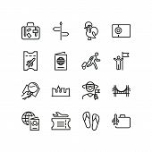 World Tourism Icons. Set Of Line Icons. Airplane Travel, Happy Tourist, Lisbon. Travelling Concept.  poster