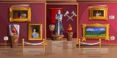 Museum Exhibition Room Cartoon Vector Illustration. Palace Interior, Art Gallery Of Medieval Castle, poster