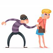 Criminal Thief Stealing Purse From Helpless Woman Female Girl Character Isolated Cartoon Design Temp poster