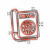 Newspaper Icon In Comic Style. News Vector Cartoon Illustration On White Isolated Background. Newsle poster