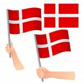 Denmark Flag In Hand. Patriotic Background. National Flag Of Denmark Vector Illustration poster