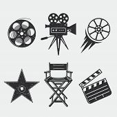 Different Icons For Movie And Production In Vintage Style. Movie Camera, Star Award, Movie Clapper,  poster