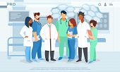 Hospital Healthcare Staff, Doctors In Medical Robe With Stethoscope, Surgeons, Nurses Holding Notebo poster