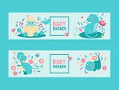 Dinosaurs Baby Shower Boy Or Girl Vector Invitation. Cute Baby Dino Dinosaurs Egg And Dragons Hatchi poster