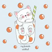 Vector Illustration Of Cute Kawaii Hand Drawn Cat In Anime Style In A Glass Of Peach Cocktail With R poster