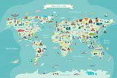 Landmarks world map vector cartoon illustration. World vector poster for children, cute illustrated poster