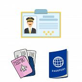 Isolated Object Of Passport And Travel Icon. Set Of Passport And Paper Stock Bitmap Illustration. poster