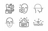 Face Declined, Face Scanning And Mint Bag Icons Simple Set. Skin Cream, Clean Skin Signs. Identifica poster