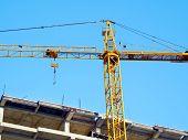 Crane. Self-erection Crane Over Construction Site. Crane Near Bulding. Industrial Background. poster