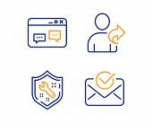 Spanner, Browser Window And Refer Friend Icons Simple Set. Approved Mail Sign. Repair Service, Websi poster
