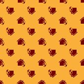 Red House Under Protection Icon Isolated Seamless Pattern On Brown Background. Home And Shield. Prot poster